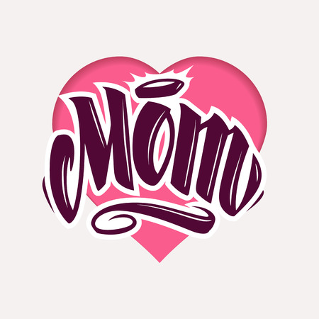 Word Mom tattoo style lettering on heart shape on paper background. Vector art. Ilustracja