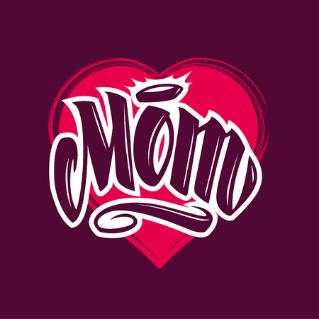 Word Mom tattoo style lettering on grunge heart shape. Vector art.