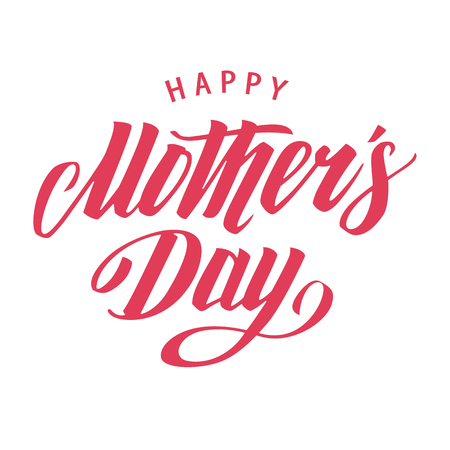Happy Mothers Day Vector Lettering  isolated on white. Vector art.