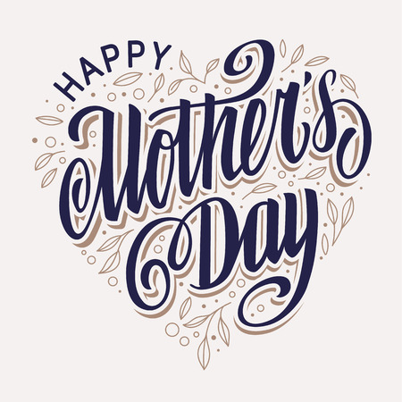 Happy Mothers Day Lettering  in heart shape filled with leaves vintage design. Vector art. Ilustracja