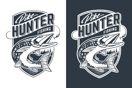 Conception d'emblème de vecteur de chasseur de brochet. Insigne de style rétro avec poisson brochet en mouvement attrapant des appâts. Vecteurs