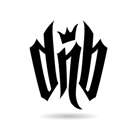 Letras negras DnB con corona sobre fondo blanco con sombra gris debajo. Letras vectoriales para fanáticos de la batería y el bajo. Ilustración de vector