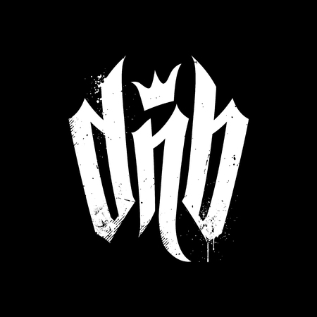 White letters DnB with crown on black background with dirty grunge elements.  Vector Lettering for Drum and Bass Fans. Illustration