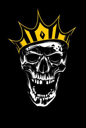 Crâne blanc en couronne d'or à la folie avec la bouche ouverte sur fond noir. Art vectoriel.