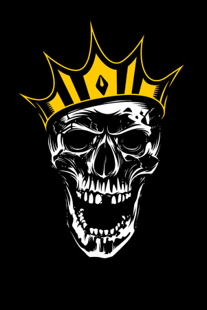 White skull in gold crown looking mad with open mouth on black background. Vector art.