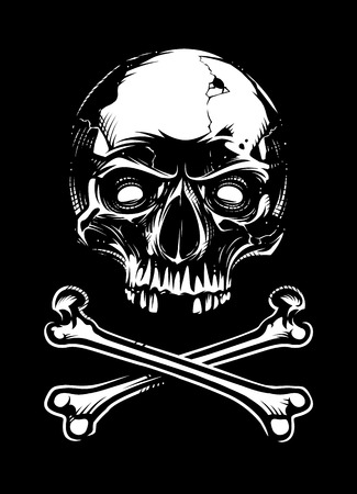 White skull with two crossed bones looking on black background. Vector art.