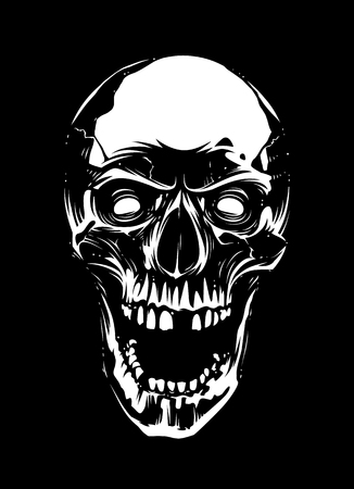 White skull with mad eyes and open mouth on black background. Vector art.