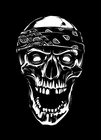 White skull in bandana looking mad with open mouth and bullet hole in head on black background. Vector art. Illustration