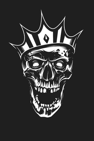 White skull in crown looking mad with open mouth on black background. Vector art.