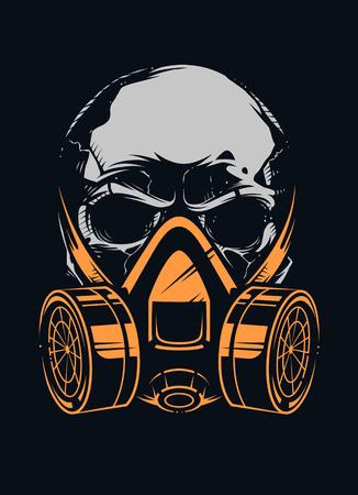 Cráneo en respirador sobre fondo negro. Arte vectorial.