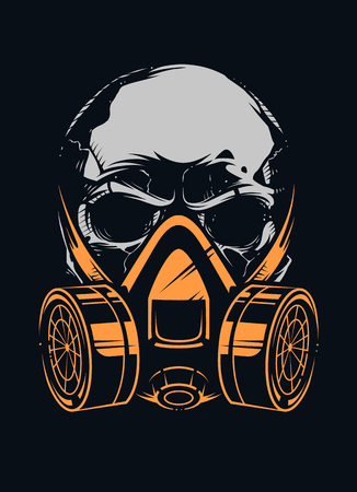 Skull in respirator on black background. Vector art. Stock Illustratie