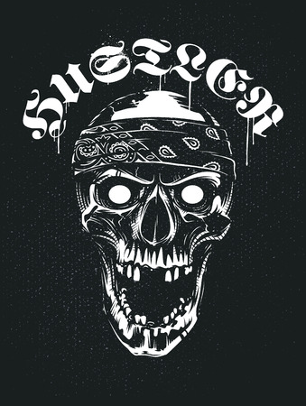 White skull in bandana looking mad with open mouth. Hustler typography above. Grunge noise and paint splashes on back. Vector art. Illustration