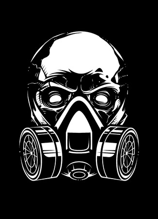White skull in respirator on black background. Vector art.