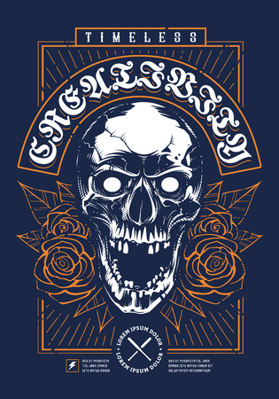 Skull with Roses two color print design on deep blue background. Grunge design with skull looking mad with open mouth. Roses and leaves on sides. Rectangular frame around. Vintage tipography. Brutal t-shirt design.