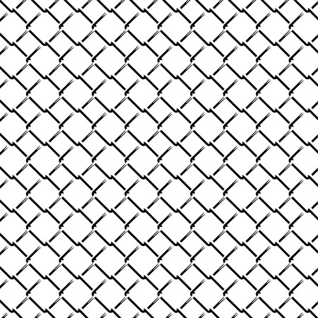 Fence Grid Monochrome Seamless Pattern. Vector endless texture.