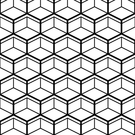 Seamless Pattern with Black Line Hexagons. Vector endless texture.