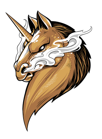 Fierce unicorn with smoke comes from nostrils. Vector mascot.