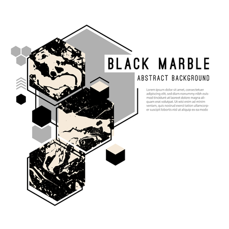 Abstract Vector Background with Geometric Shapes filled with Black Marble texture. Illustration