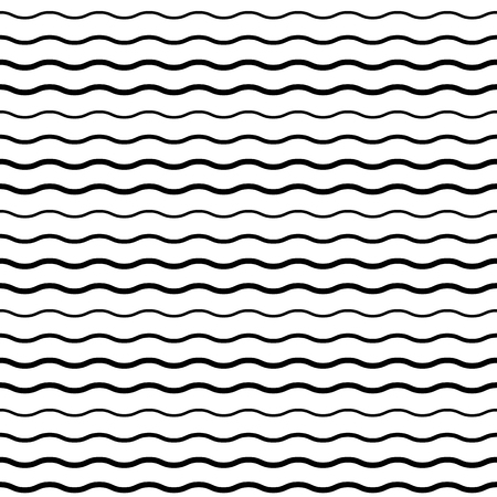 Seamless Pattern with Smooth Wave Lines. Vector endless texture.