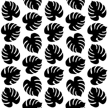 Seamless Pattern with Tropical Leaves. Vector endless texture.