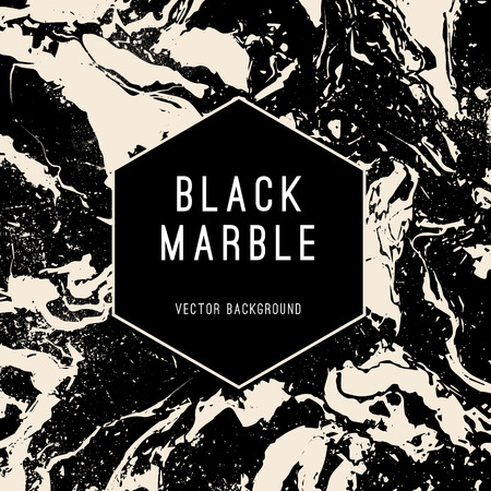 Black Marble Vector Background with Hexagon Shape Banner. Luxury style modern vector banner.