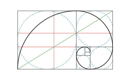 Plantilla de diseño de vectores de proporción áurea. Plantilla de regla de composición de proporción áurea de Fibonacci.