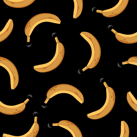 Seamless Pattern with Bananas on black.