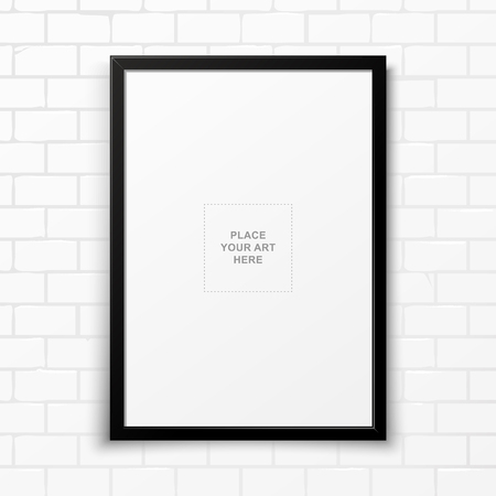 Blank Black Frame on White Soft Light Brickwall. Vector art. Ilustracja