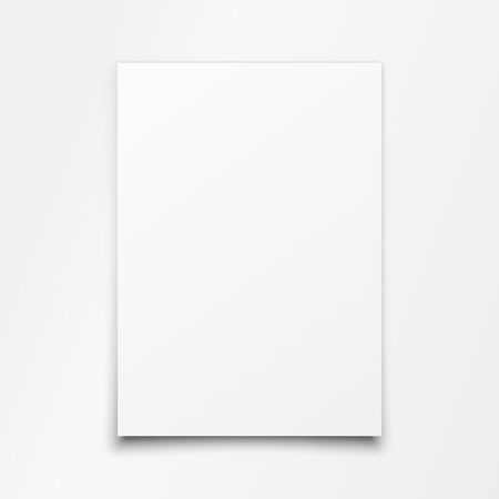 Blank White Paper Sheet on white soft light background. Vector art.