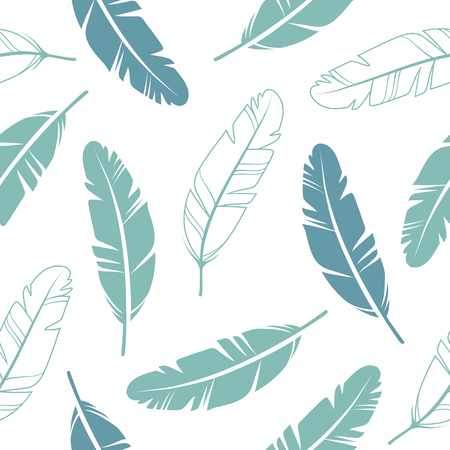 Pastel Colours Feathers Seamless Pattern.