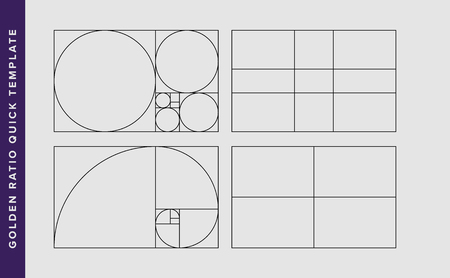Modèle de conception de vecteur de nombre d'or. Modèle de règle de composition du nombre d'or de Fibonacci. Noir sur gris. Vecteurs