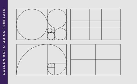 Modello di disegno vettoriale di rapporto aureo. Modello di regola di composizione del rapporto aureo di Fibonacci. Nero su grigio. Vettoriali