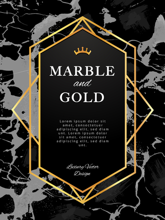 Gold Frame Banner on Black Marble Background. Luxury style vector design.