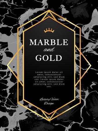 Goldrahmen-Fahne auf schwarzem Marmorhintergrund. Vektordesign im Luxusstil. Vektorgrafik