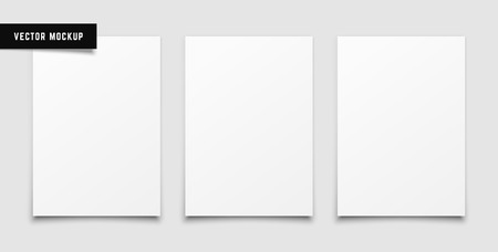 Three Blank White Paper Sheets on white soft light background. Vector art.