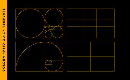Szablon projektu wektor złoty stosunek. Szablon reguły składu złotego podziału Fibonacciego. Żółty na czarnym.
