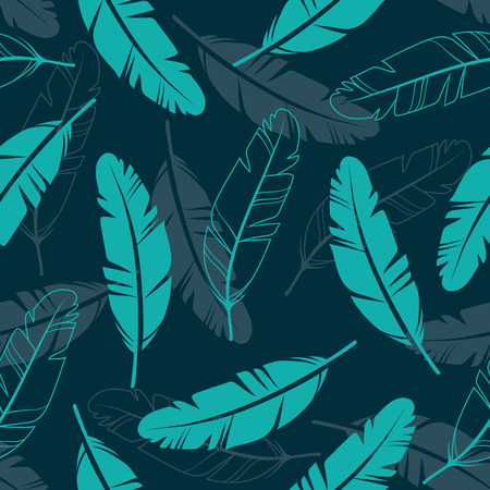Vector Seamless Pattern with Feathers. Illustration