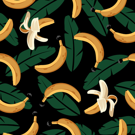 Seamless Pattern with Bananas and Leaves on black.