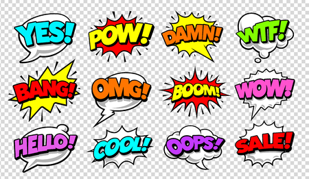 Retro comic speech bubbles with different tags on transparency background. Vector illustration. Çizim