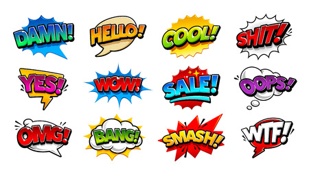 Retro comic speech bubbles with different tags on transparency background. Vector illustration. Ilustracja