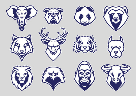 Animals Head Mascot Icons Vector Set. Different animals muzzles looking straight with aggressive mood. Vector icons set. Çizim