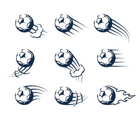 Satz Fußbälle mit Zeitraffereffekt. Bewegliche Kugeln-Vektor-Icons.