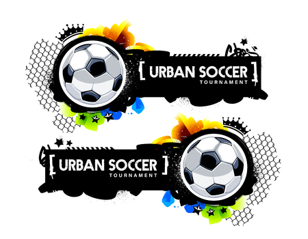 Two horizontal banner with soccer balls and graffiti elements. Urban street art style vector graphic for football design. Ilustracja