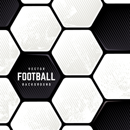 Traditional European Soccer Ball weathered surface background. Vector football grunge background. Illustration