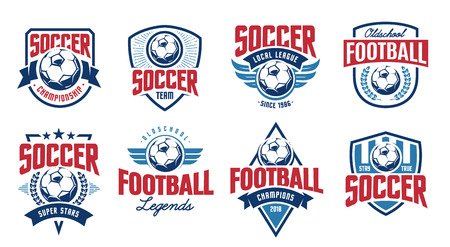 European football classic emblems vector set. Ilustracja