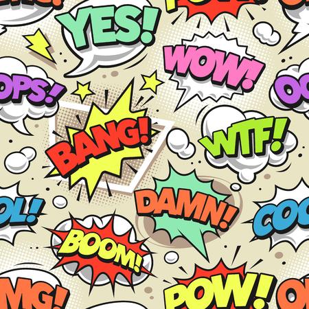 Bulles de bande dessinée rétro avec modèle sans couture de balises différentes. Arrière-plan sans fin de style pop art vectoriel. Vecteurs