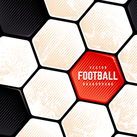 Traditional European Soccer Ball weathered surface background. Vector football grunge background. Ilustracja