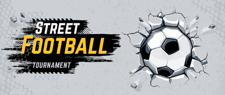 Street Football Design with Soccer ball breaking wall. Vector Illustration.