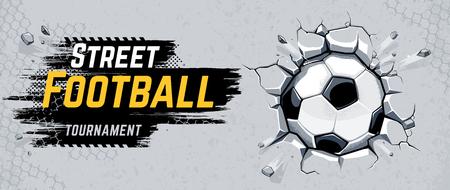 Street Football Design met voetbal brekende muur. Vectorillustratie.