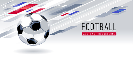 Traditionele Europese voetbal op dynamische abstracte achtergrond met kopie ruimte. Sjabloon voor spandoek vector voetbal. Vector Illustratie